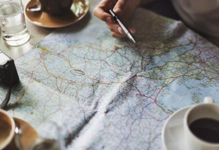 map, coffee, travel