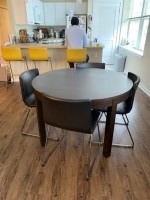 Round dining table, expandable (Ikea BJURSTA Extendable table)