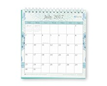 "Blue Sky ""Lianne Aqua"" 6.0625 x 6.375 Monthly Desk Calendar with Stand, Jul 2017 to Jun 2018"